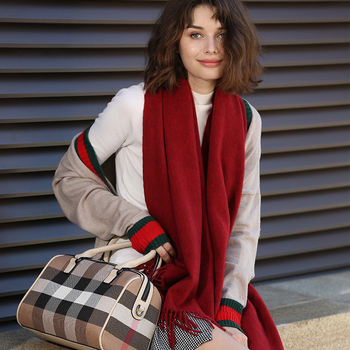 Different Color High Grade 100% goat cashmere women fashion water ripple woven thick scarfs shawl yak cashmere scarves