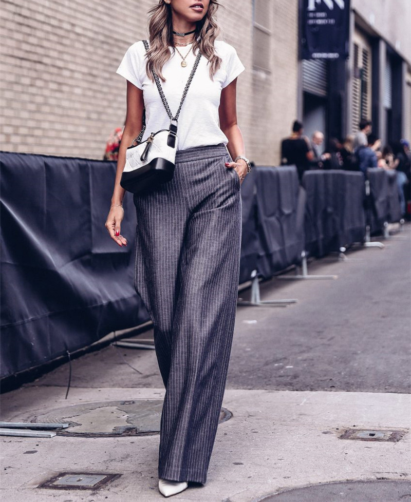 AEL Dark Grey Stripe Women Broad Leg Long Pants 2018 Fashion Summer Clothing Slim Elegance Hight