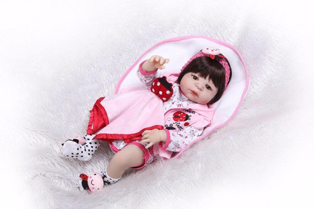 NPK bebé recién nacido muñeca reborn 56 CM pulgadas Reborn Baby girl vida Real muñeca juguetes de silicona suave ojos abiertos resistente al agua de juguete de baño-in Muñecas from Juguetes y pasatiempos    3