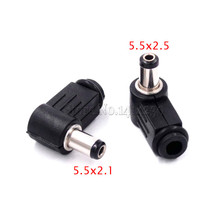 цены 5Pcs Black 2.1mm x 5.5mm 2.5mm x 5.5mm DC Power Male Plug Jack Adapter 90 Degree Male