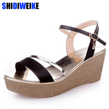 aed9e6ab0a Wedges Platform Women Sandals Fashion Quality Comfortable Bohemian Women  Sandals For Lady Shoes high heel Gold Black Shoes m674