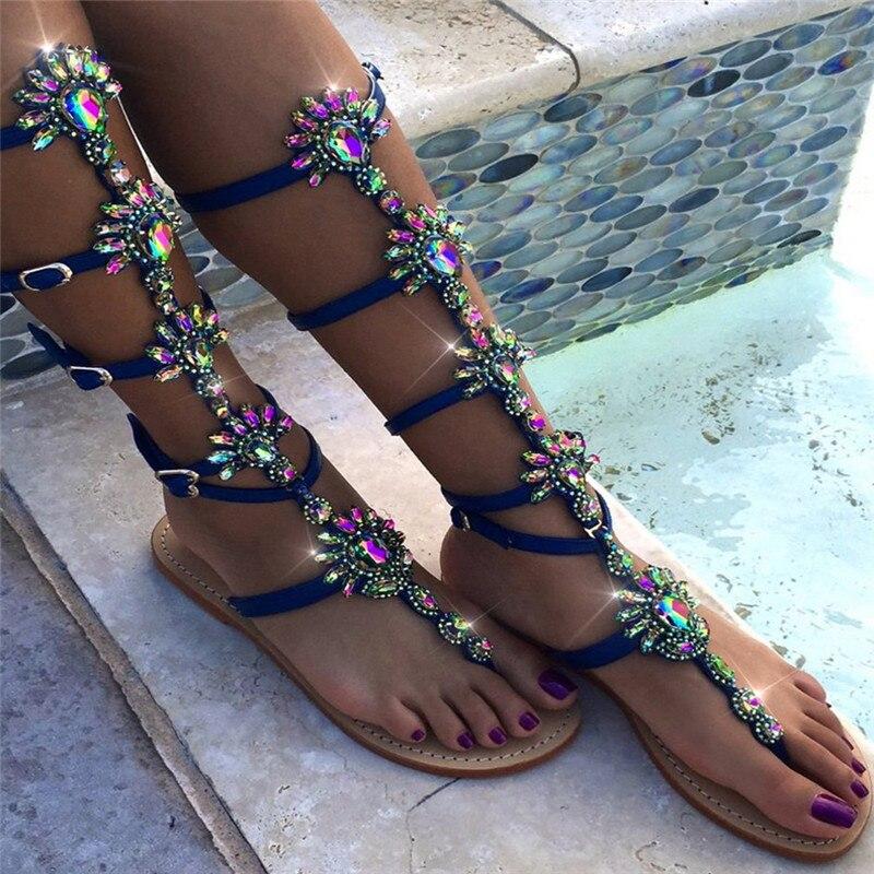 Women Sandals Rhinestone Flat Gladiator Sandals Summer Women Shoes Sandalia Feminina Women Shoes Plus Size 3.5-16 new 2016 women rhinestone gladiator sandals summer flat casual shoes beach slippers size 35 39