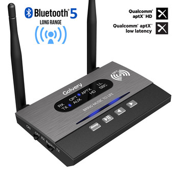 3 In 1 Long Range Bluetooth 5.0 Transmitter Receiver NFC Audio Adapter aptX-LL HD Optical 3.5mm RCA AUX for TV/Home Stereo