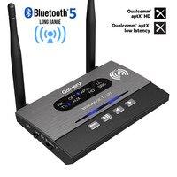 Long Range 328ft/80m Bluetooth 5.0 Transmitter Receiver BYPASS NFC Audio Adapter APTX HD & Low Latency Optical RCA 3.5mm AUX