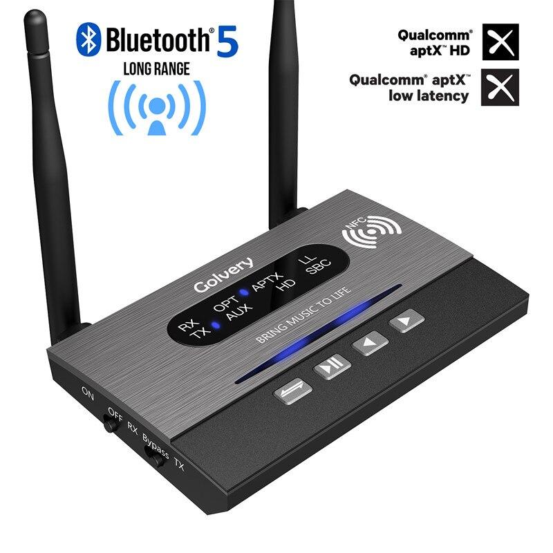 Longue portée 328ft/80 m Bluetooth 5.0 émetteur récepteur dérivation NFC Audio adaptateur APTX HD et faible latence optique RCA 3.5mm AUX