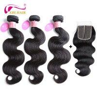 XBL HAIR Human Hair Bundles With Closure Brazilian Body Wave Bundles Natural Color 3 Bundles With