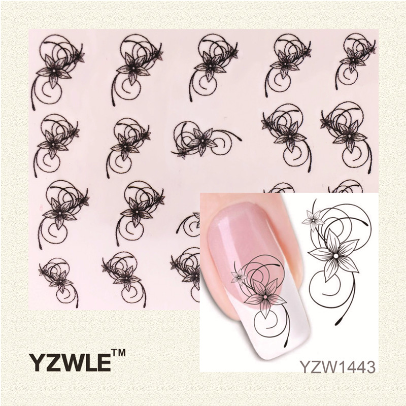 YZWLE 1 Sheet DIY Decals Nails Art Water Transfer Printing Stickers Accessories For Manicure Salon