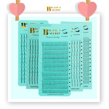 BES Eyelashes Extension Supplies Premade Fanned Short Stem 1 Tray 12 Rows Volume Fans Mink Wide