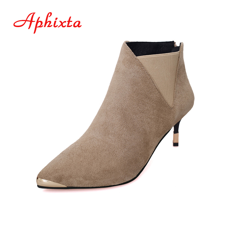 Aphixta Shoes Women Ankle Boots Zip Elastic Snow Winter High Thin Heels Pointed Toe Metal Fashion Gladiator Tassel Woman Boots new arrival black red full grain leather zip fashion women boots pointed toe thin heels ankle shoes woman 1553