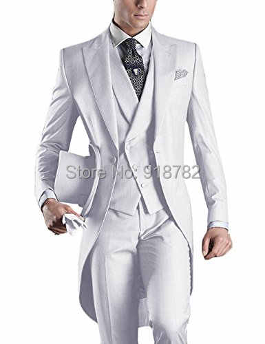 Italian Men Tailcoat Gray Black White Wedding Suits For Men Groomsmen Suits 3 Pieces Peaked Lapel Groom Wedding Dress Men Suits