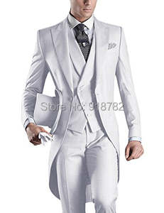 Wedding-Suits Tailcoat Lapel Gray Italian Black White 3pieces Men for Peaked Groom