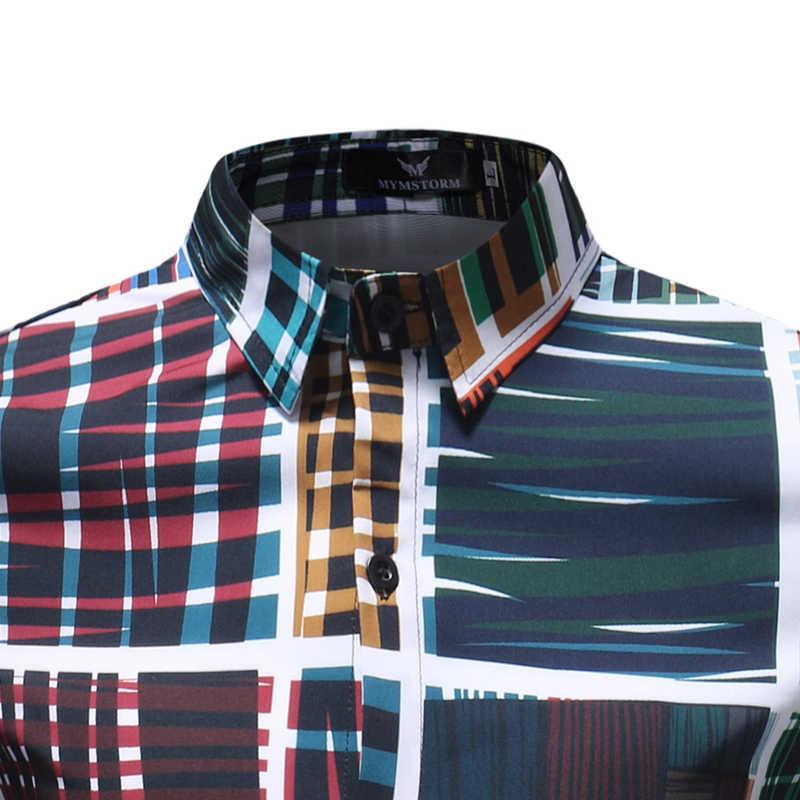 Абстрактная клетчатая рубашка с длинными рукавами и принтом для мужчин 2018 Весна Осень Новые мужские повседневные рубашки На Пуговицах Мужские рубашки Camisas Para Hombre