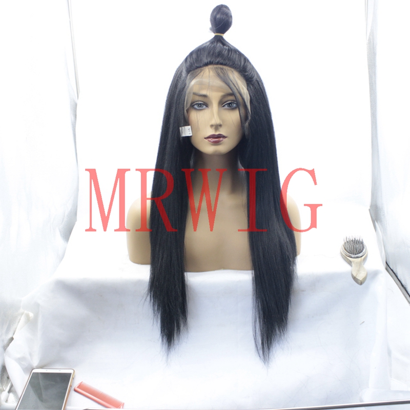 MRWIG Light Yaki Straight Braide Lace Front Wig 12-26 inch Long hair african america women Lace Frontal free part 22in 150%