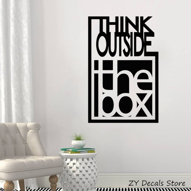 Inspire Quote Wall Decals Think Outside The Box Motivation Office Team Art  Decor Stickers Bedroom Vinyl