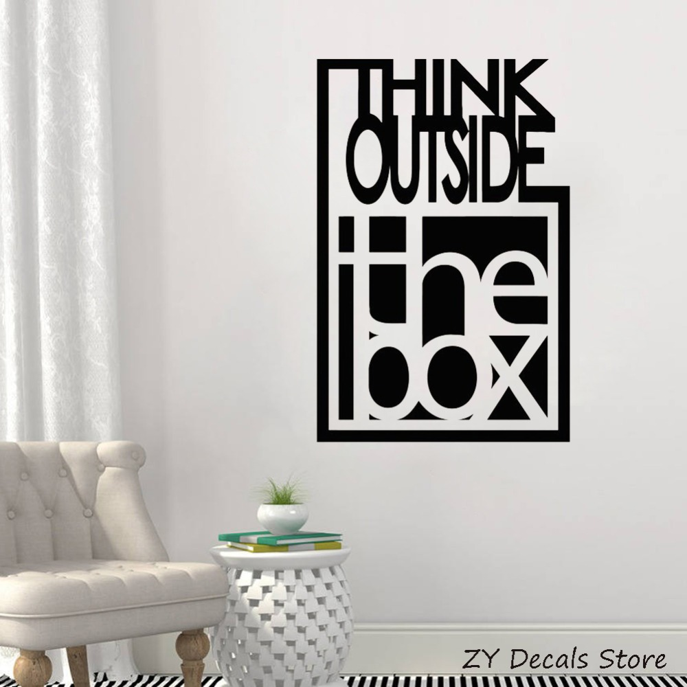 Inspire Quote Wall Decals Think Outside The Box Motivation Office Team Art Decor Stickers Bedroom Vinyl Wall Art Sticker S729