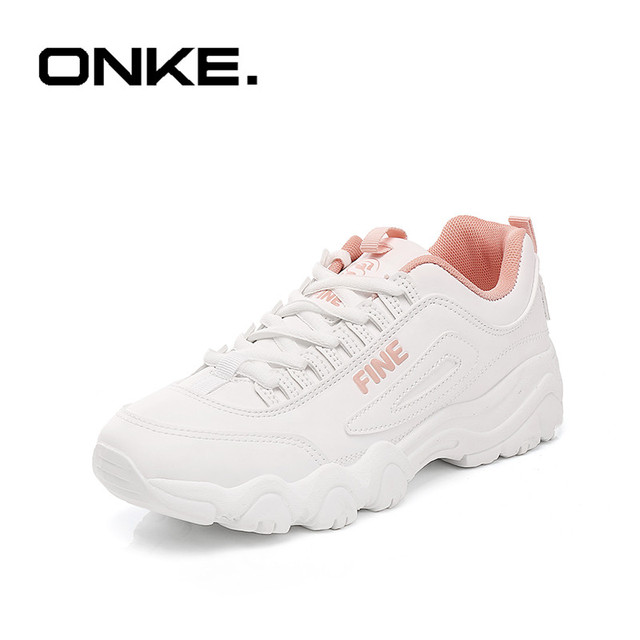 f21bcfdd42 ONKE 2018 Nova Primavera Mulheres Papai Tênis Branco Sapatos de Corrida Do  Vintage Sapatos de Sola