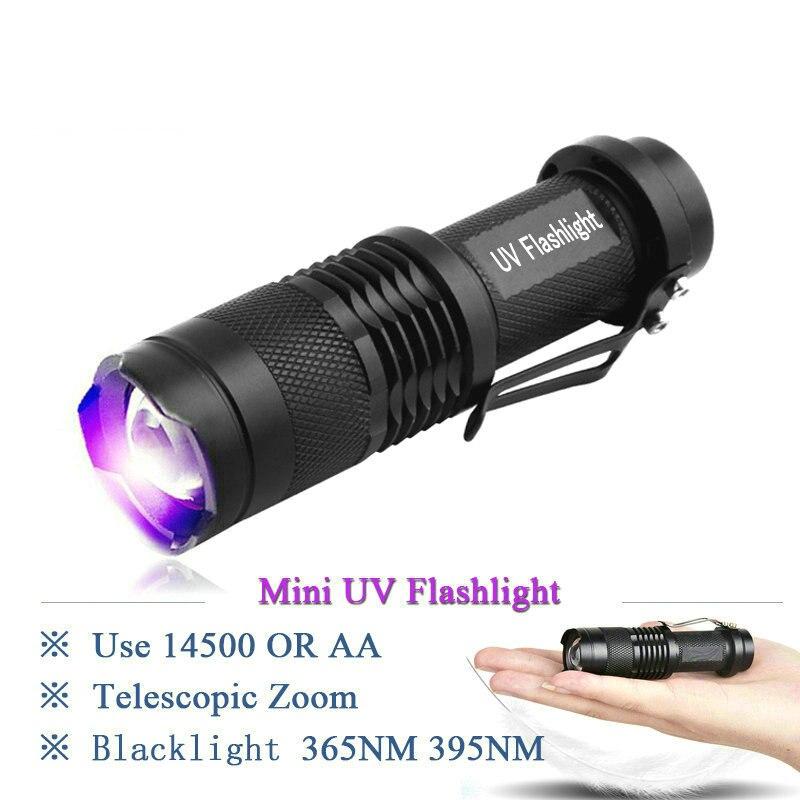 Portable Lighting 2018 new 365nm 395nm mini uv led flashlight torch lamp blacklight light cree torcia uv charge linterna