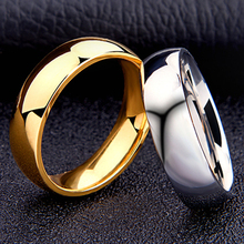 Fashion Woman Rings 6MM Width Wedding Bands Rings Stainless Titanium Steel man Finger Gold Men Ring Jewelry anel New J1256