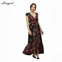 Livagirl 2017 Vestido Long Flower Dress Retro Bohemian Maxi Dress Sexy Ethnic V Neck Floral Print