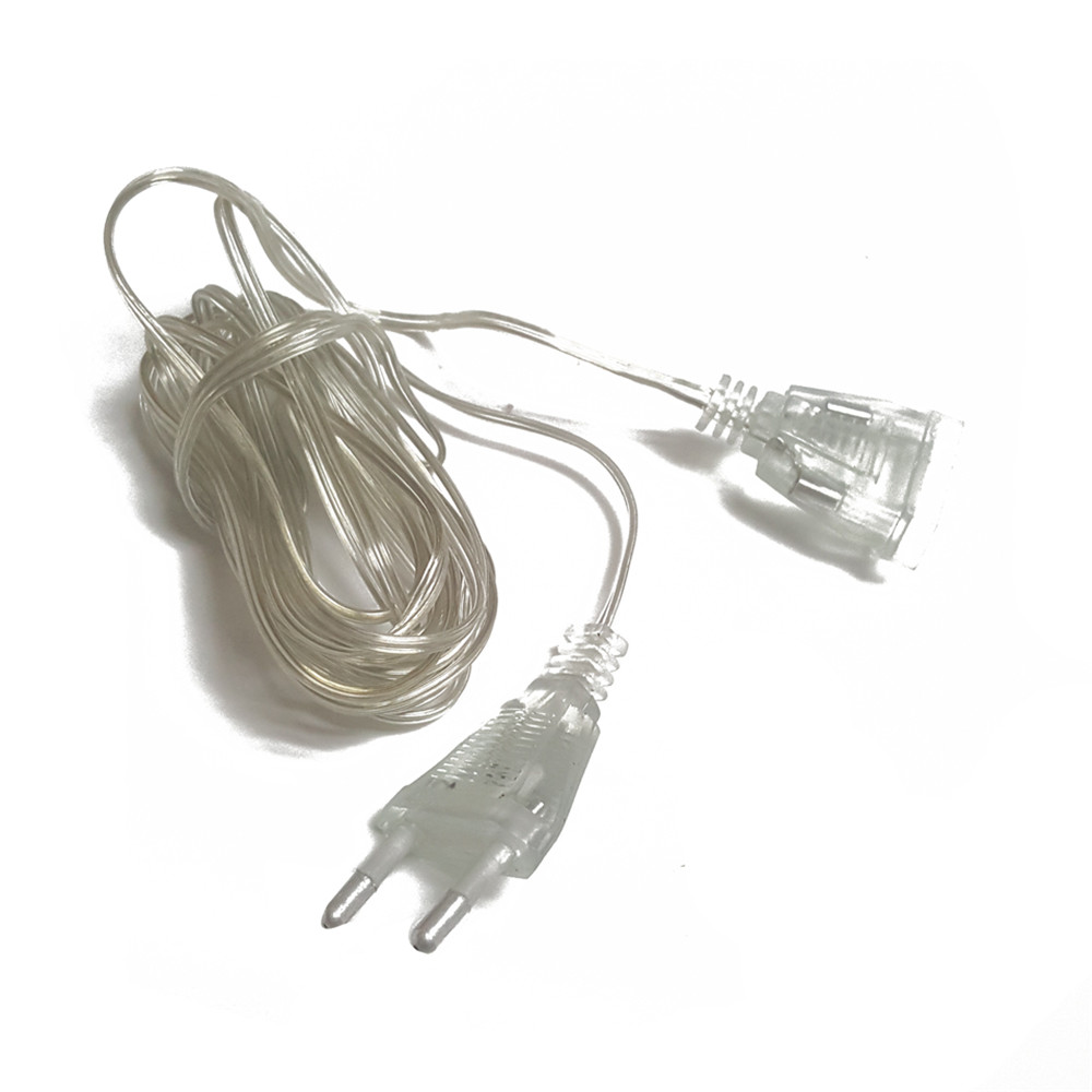 3M 5M Extended Wire EU Plug For Light String LED Strings Fairy Garland Lamps Wedding Home Garden Decoration