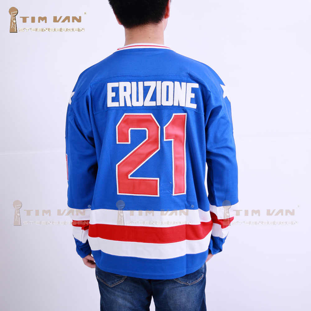 19fbd4ff4 TIM VAN STEENBERGE 1980 Miracle On Ice Team USA Mike Eruzione 21 Hockey  Jersey-Blue