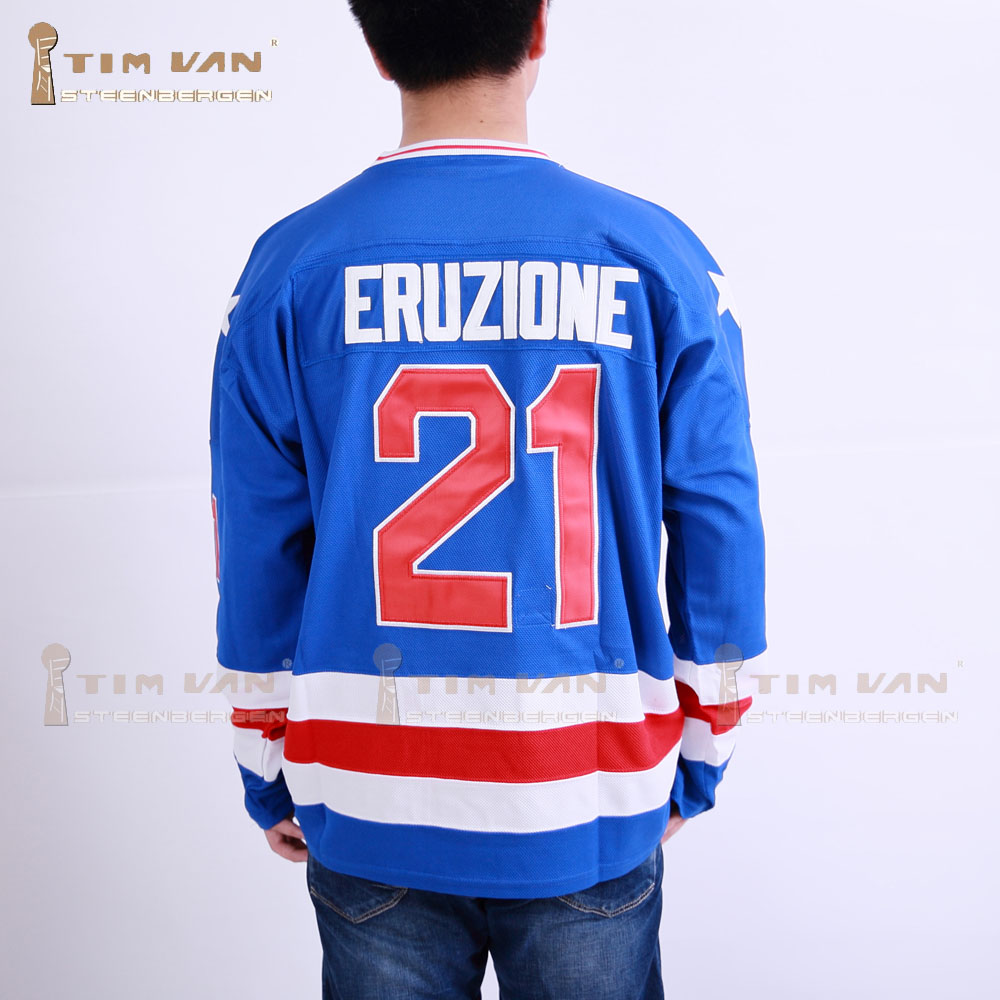 TIM VAN STEENBERGE 1980 Miracle On Ice Team USA Mike Eruzione 21 Hockey Jersey-Blue ice hockey jersey usa 30 jim craig 17 jack o callahan 21 mike eruzione steenberge 1980 miracle on ice team sewing size s 3xl