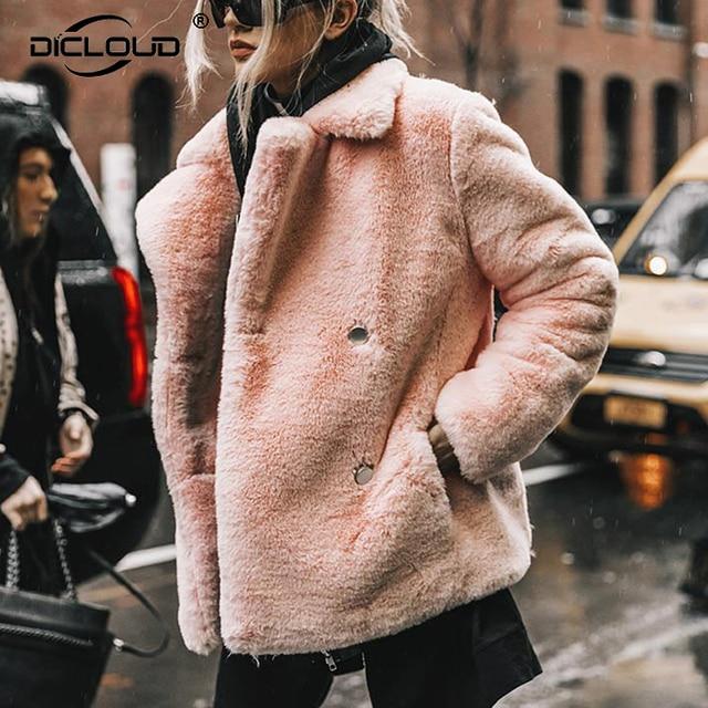 2819a9685 US $43.01 45% OFF Best Look 2018 Women Winter Faux Fur Jackets Coats  Streetwear Fake Rabbit Fur Coat Women Elegant Thick Warm Overcoat  Outerwear-in ...