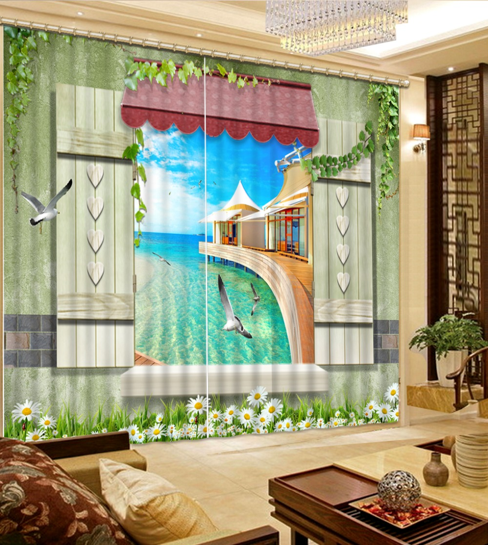 Custom Modern 3d Curtains Seagull With Blue Sky And Sea View Window Curtains  For Living Room