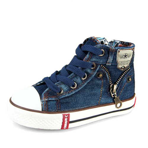 Venta caliente Bebé Cancas Zapatos Para Niños Niñas zapatillas de deporte de la lona zapatos de tela de moda de alta cremallera lateral niños zapatillas de deporte zapatos de las niñas zapatos