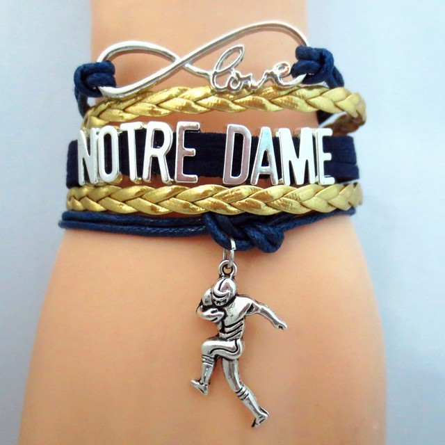 1pc Lot Hot Notre Dame Football Bracelets Infinity Love Souvenir Jewelry Charm