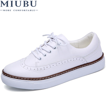 MIUBU 2019 Women Autumn Casual White Shoes Woman Brogue PU Leather Flats Lace Up Footwear Female Flat Oxford Shoes For Women 2017 british style carving brogue woman shoes thick heel lace up oxford shoes for women casual leather flats rome vintage shoes