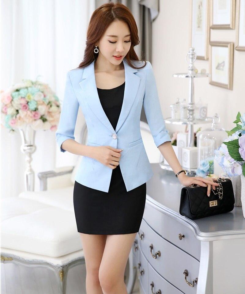 Spring Summer Formal Uniform Design Office Suits Jackets And Dress Ladies Business Women Work Wear Blazers Beauty Salon Sets