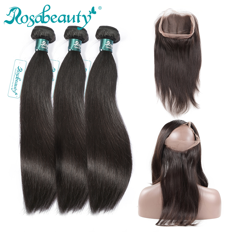 Rosabeauty Straight Hair Pre plucked 360 Frontal With Bundles Remy Human Hair 3 Bundles With Frontal