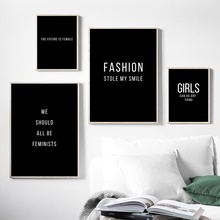 Black White Feminism Slogan Quotes Nordic Posters And Prints Wall Art Canvas Painting Salon Pictures For Living Room Decor