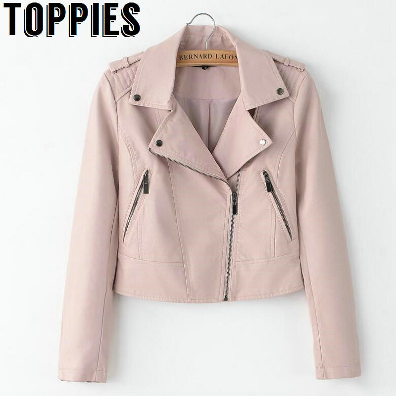 2018 Spring Women Pink Leather Jackets Imitation sheepskin coats High Quality Soft PU Leather Coats