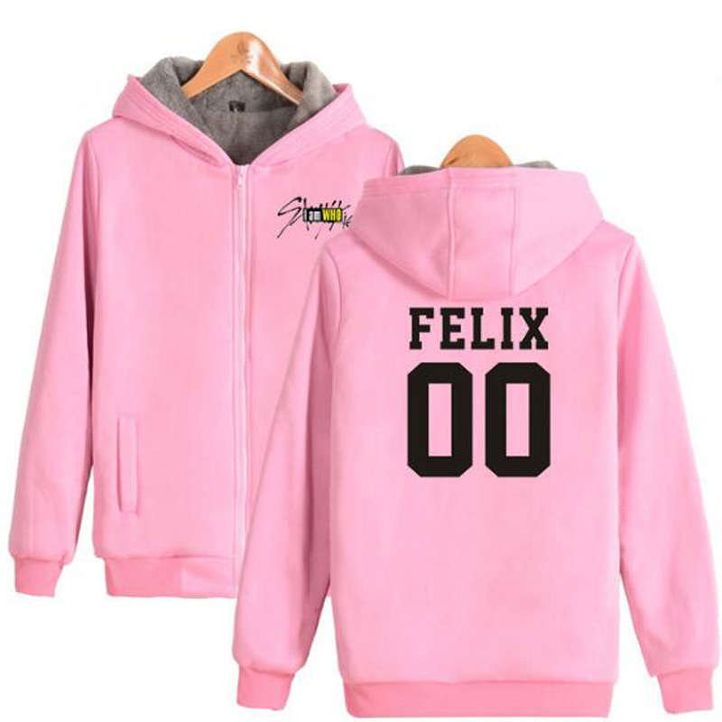 Winter Jacket Women KPOP Stray Kids I Am Who Pink Hoodie FELIX HYUNJIN SEUNGMIN JISUNG Thicken Warm Zipper Hooded Sweatshirt Men
