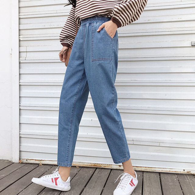 772dbeb26c9e0 Harajuku denim harem pants woman S- 5XL plus size stretch high waist ankle  long jeans pockets female kpop loose trousers blue