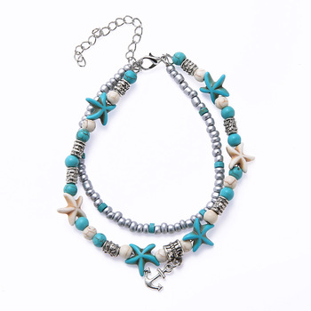 Bohemia Sea Turtle Starfish Charms Beach Anklet Shell For Women Boho Style 3