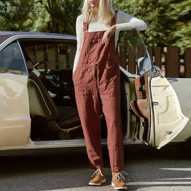 ZANZEA Women Jumpsuits Summer Dungarees Bib Overalls Casual Straps Cotton Linen Rompers Solid Loose Playsuits Suspenders S-5XL 1
