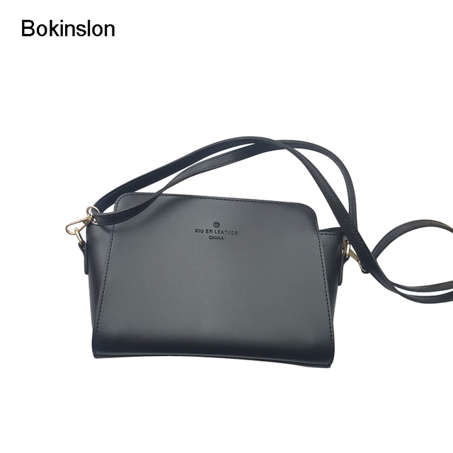 aac22e3c9564 Bokinslon PU Leather Bags For Woman Simple Retro Female Small Square Bag  Popular Elegant Ladies Crossbody Bags
