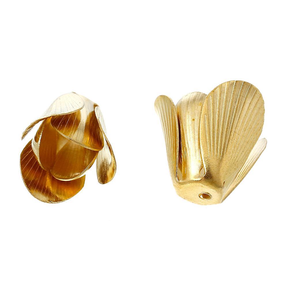 DoreenBeads Brass Beads Caps Flower Brass Tone (Fits 8.0mm Beads) 17.0mm( 5/8