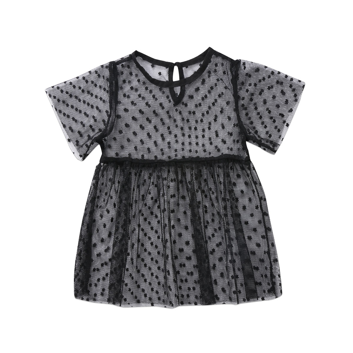 Hot Fashion Toddler Kids Baby Girls Clothing Dresses Transparent Short Sleeve Tops Tulle Tutu Mini Dress Girls Outfits Clothes day dress