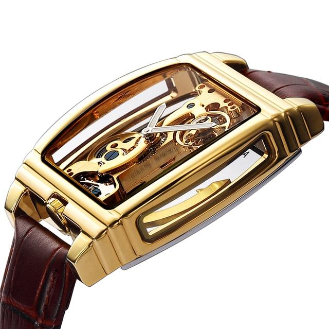 شفافة التلقائي الميكانيكية ساعة الرجال Steampunk الهيكل العظمي الفاخرة والعتاد الذاتي لف الجلود ساعة الرجال الساعات montre أوم