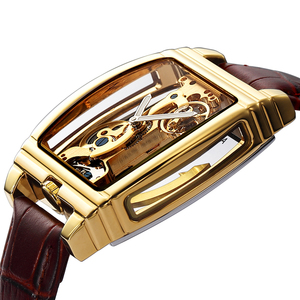 Image 1 - Transparent Automatic Mechanical Watch Men Steampunk Skeleton Luxury Gear Self Winding Leather Mens Clock Watches montre homme