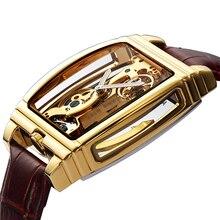 Transparent Automatische Mechanische Uhr Männer Steampunk Skeleton Luxus Getriebe Selbst Wickel Leder herren Uhr Uhren montre homme