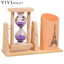Vividcraft Creative Timer Wood Pen Holder Office Desk Accessories with Hourglass Scrub Pencil Holder for Desk Pen Stand For Gift
