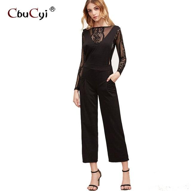 e400dc565a097f Koronki okrągły dekolt Sexy czarne Kombinezony combinaison pantalon femme  ciała garsonka elegancki kombinezon harem elegante