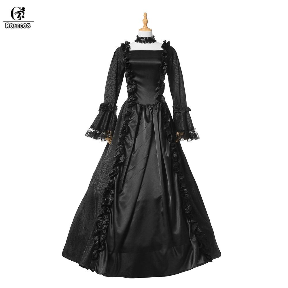ROLECOS 2018 Vintage gothique Lolita robe pour les femmes partie rétro noir Lolita longue robe avec manches complètes robe victorienne