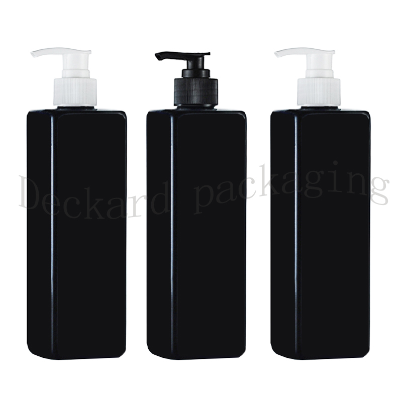 wholesale 20pcs 500ml black square screw pump shampoo bottles containers for cosmetic packaging shampoo bottle with