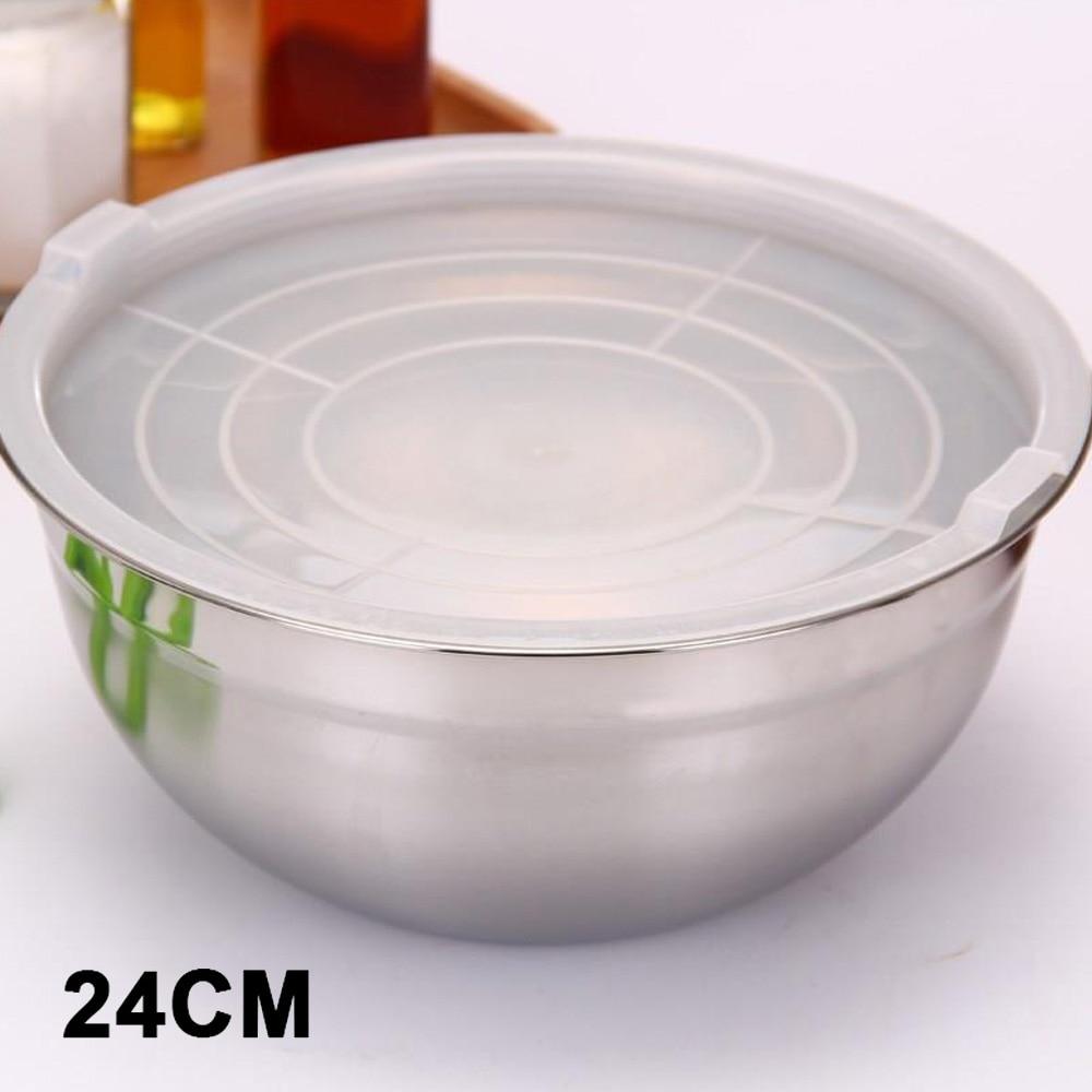 Крышка салатник кухонные миски мгновенная лапша портативные Ланч-боксы кухонные инструменты для приготовления пищи смешивающая чаша практичная столовая - Цвет: 24cm